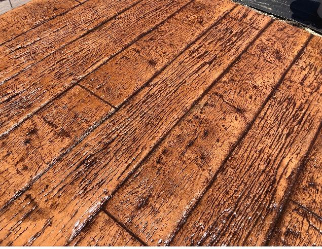 木目調のスタンプコンクリート
